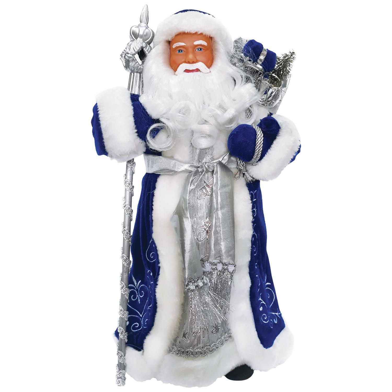Дед Мороз декоративный, пластик/ткань, высота 30 см, в синей шубе