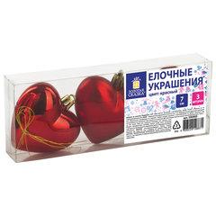 """Украшения елочные ЗОЛОТАЯ СКАЗКА """"Сердца"""", НАБОР 3 шт., пластик, 7 см, цвет красный, 590900"""