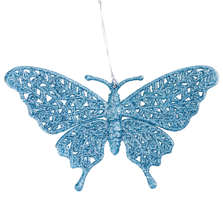 """Украшение елочное подвесное """"Голубая бабочка"""", 16,7х10 см, пластик"""