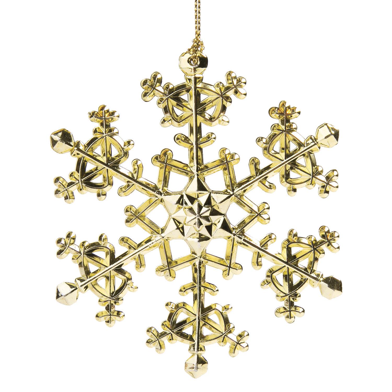 """Украшение елочное подвесное """"Снежинка изящная золотистая"""", 11х11 см, пластик"""