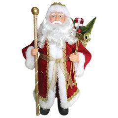 Дед Мороз декоративный, пластик/ткань, высота 41 см, в красной шубе