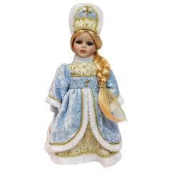 """Снегурочка декоративная """"Ирочка"""", пластик/ткань, высота 30 см, в голубой шубе"""