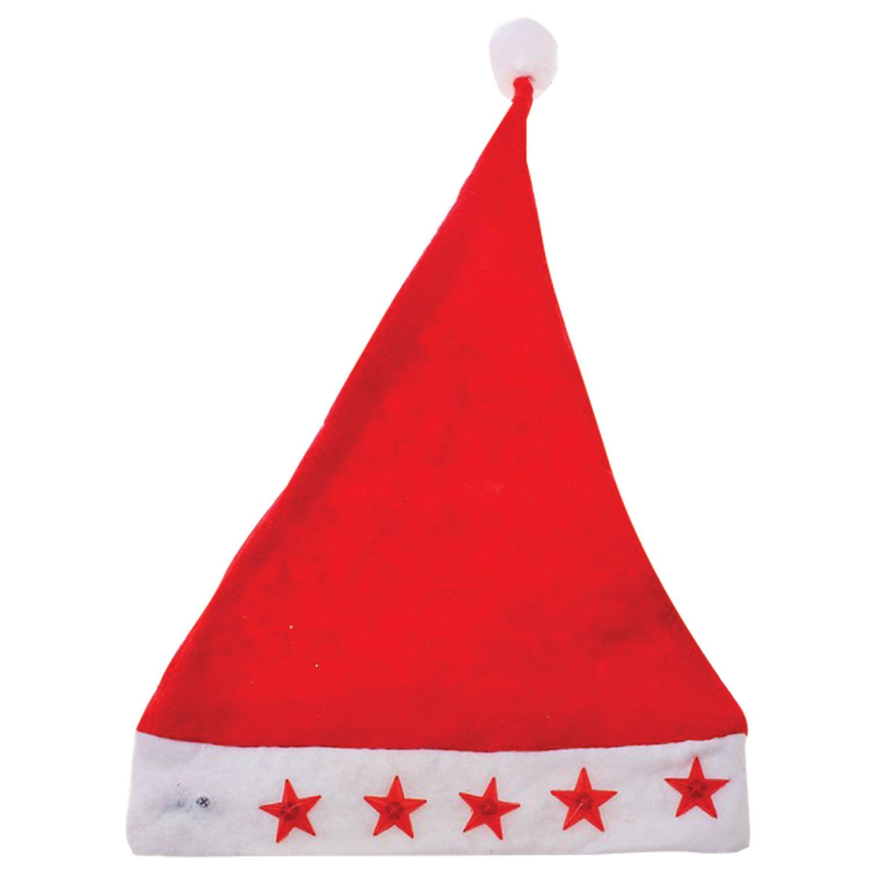Колпак новогодний из нетканного материала (полиэстер), светодиодная подсветка, 28х38 см, красно-белый