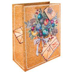 """Пакет подарочный ламинированный, 17,8х22,9х9,8 см, """"Еловый букет"""", ПЛОТНЫЙ, 250 г/м2"""
