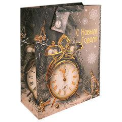 """Пакет подарочный ламинированный, 17,8х22,9х9,8 см, """"Часы-ретро"""", ПЛОТНЫЙ, 250 г/м2"""