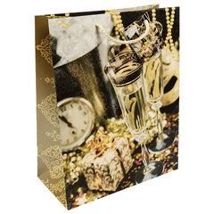 """Пакет подарочный ламинированный, 26х32,4х12,7 см, """"Золотые бокалы"""", 140 г/м2"""