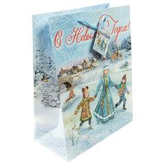 """Пакет подарочный ламинированный, 26х32,4х12,7 см, """"Зимние забавы"""", 140 г/м2"""