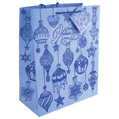 """Пакет подарочный ламинированный, 26х32,4х12,7 см, """"Синие новогодние шары"""", ПЛОТНЫЙ, 250 г/м2"""
