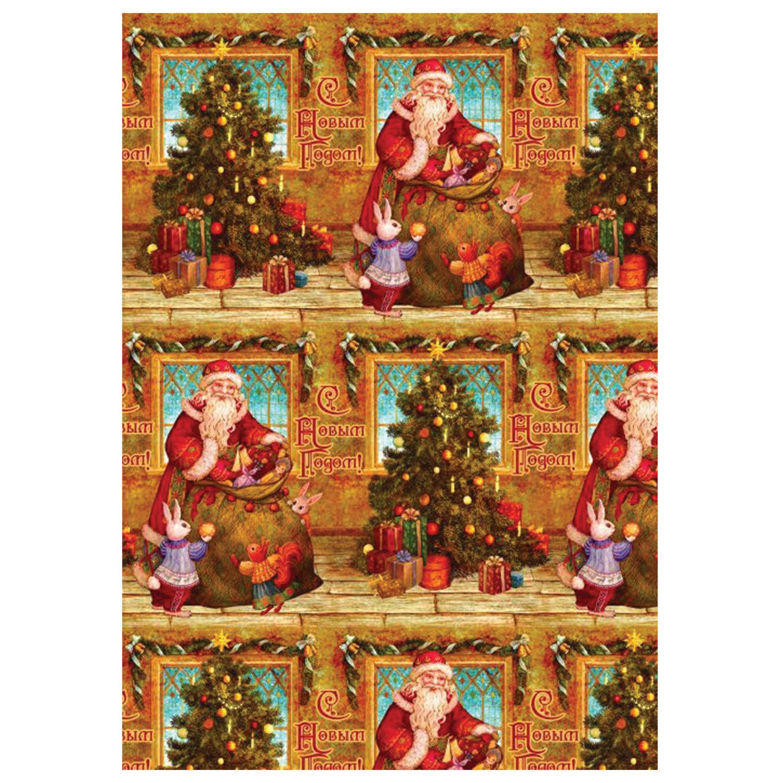 """Бумага упаковочная подарочная """"Дед Мороз и зайчики"""", 100х70 см, в рулонах, мелованная, 80 г/м2"""