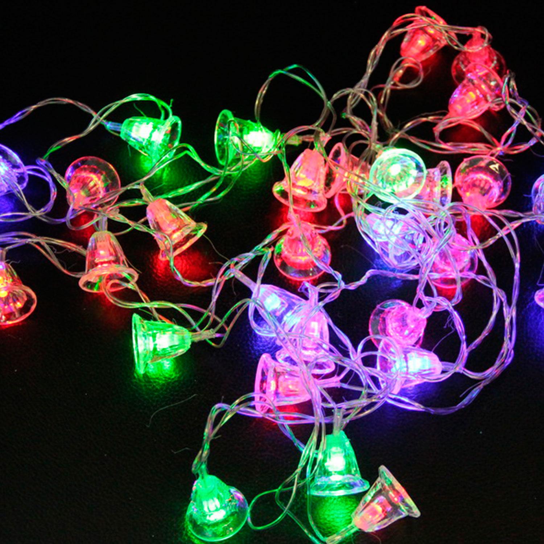 """Электрогирлянда светодиодная """"Колокольчики"""", 20 ламп, 3,5 м, многоцветная"""