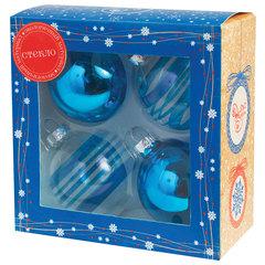 Шары елочные, НАБОР 4 шт., стекло, диаметр 6 см, ассорти 2 цвета, с рисунком, ассорти