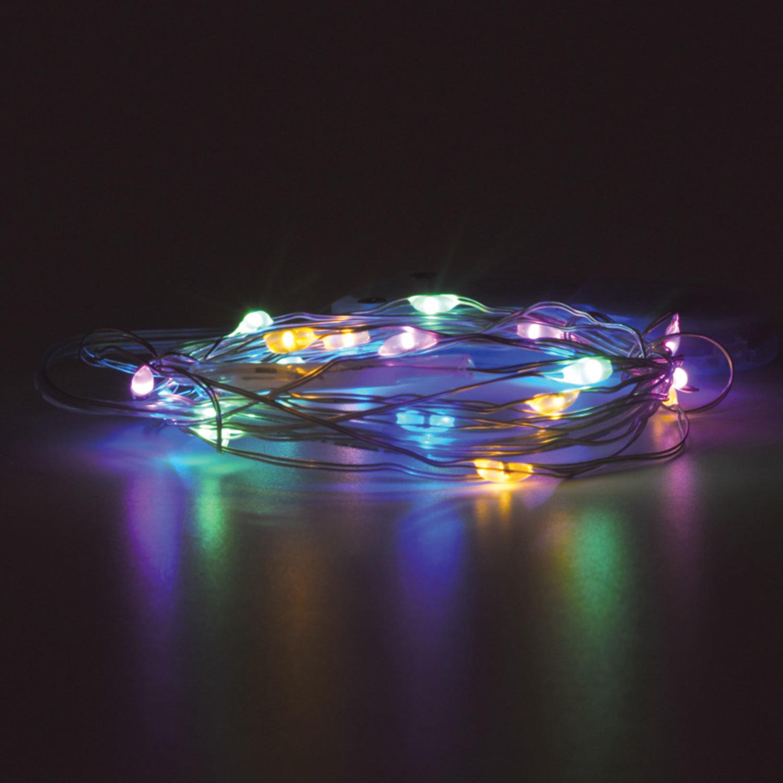 "Электрогирлянда светодиодная ЗОЛОТАЯ СКАЗКА ""Роса"", 20 ламп, 2 м, многоцветная, на батарейках"