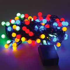 """Электрогирлянда светодиодная ЗОЛОТАЯ СКАЗКА """"Шарики"""", 100 ламп, 10 м, многоцветная, контроллер"""