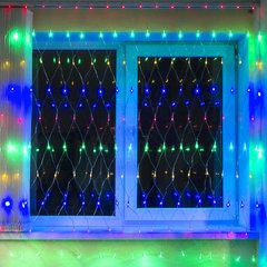 """Электрогирлянда светодиодная ЗОЛОТАЯ СКАЗКА """"Сеть"""", 160 ламп, 1,5х1,5 м, многоцветная, контроллер, 591106"""