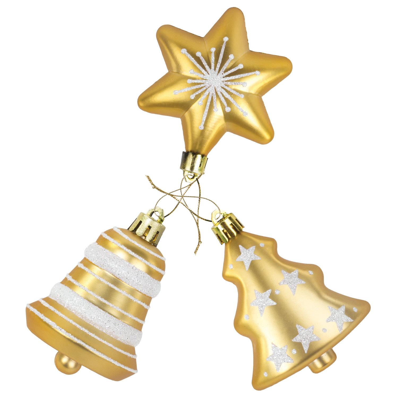 """Набор украшений для ели ЗОЛОТАЯ СКАЗКА """"Ель, звезда, колокольчик"""", 3 шт., пластик, золото"""