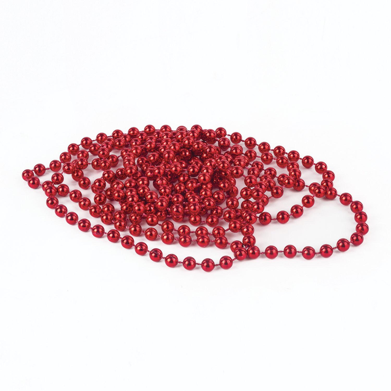 Бусы елочные ЗОЛОТАЯ СКАЗКА, диаметр 7,5 мм, длина 2,7 м, красные