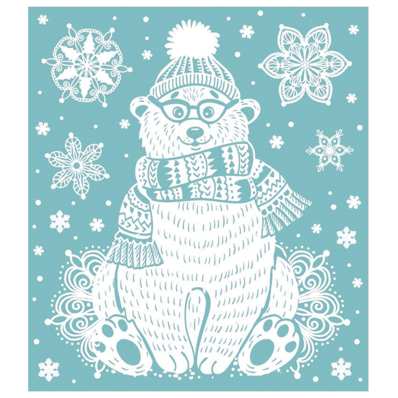 """Украшение для окон и стекла декоративное """"Снежный мишка"""", с раскраской, 15,5x17,5 см, ПВХ, 80029"""