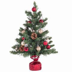 Ель искусственная декоративная, 50 см, зеленая, с гирляндой и игрушками, ЗОЛОТАЯ СКАЗКА, 591316