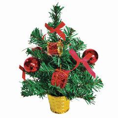 Ель искусственная новогодняя декоративная ЗОЛОТАЯ СКАЗКА 30 см, ПВХ, красные украшения, 591320