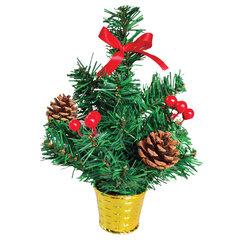 Ель искусственная новогодняя декоративная ЗОЛОТАЯ СКАЗКА 30 см, ПВХ, ягоды/шишки, 591321