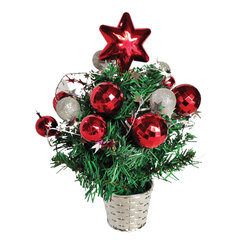 Ель искусственная новогодняя декоративная ЗОЛОТАЯ СКАЗКА 30 см, ПВХ, красные/серебристые украшения, 591322