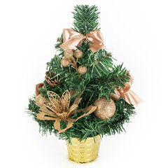 Ель искусственная декоративная 30 см, ПВХ, цвет украшений: кремовое золото, ЗОЛОТАЯ СКАЗКА, 591324