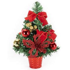 Ель искусственная декоративная, 30 см, ПВХ, цвет украшений: красный/золотистый, ЗОЛОТАЯ СКАЗКА, 591325