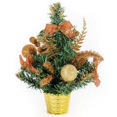 Ель искусственная декоративная 30 см, ПВХ, цвет украшений: медно-золотистый, ЗОЛОТАЯ СКАЗКА, 591326