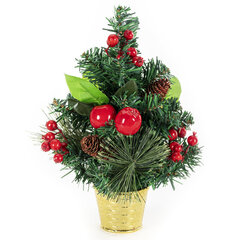 Ель искусственная декоративная 30 см, ПВХ, сосновые иголки, шишки, ягоды, ЗОЛОТАЯ СКАЗКА, 591327