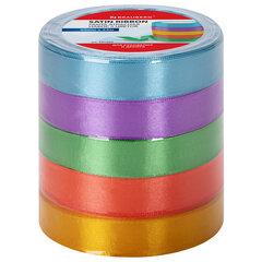 Лента атласная ширина 20 мм, набор 5 цветов по 23 м, BRAUBERG, 591504