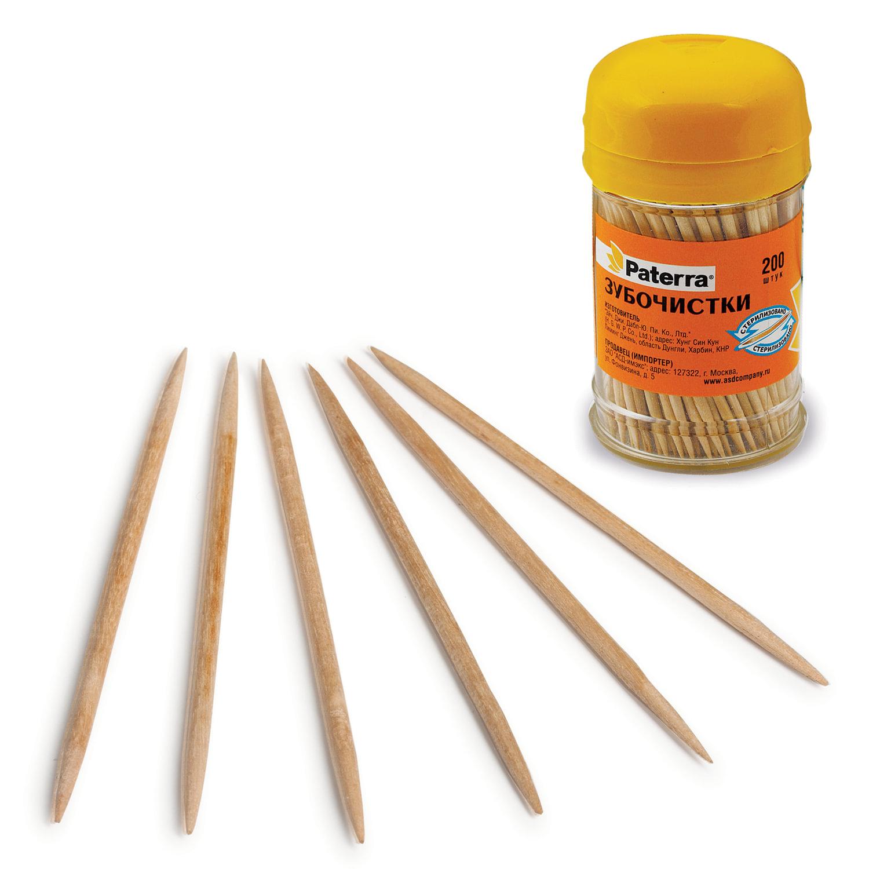 Зубочистки деревянные PATERRA, комплект 200 шт., в баночке