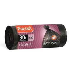 "Мешки для мусора, 30 л, комплект 20 шт., рулон, ПНД, 50х60 см, 7 мкм, черные, PACLAN ""Standard"""