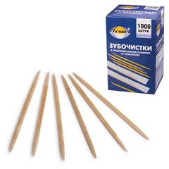 Зубочистки деревянные PATERRA / AVIORA, комплект 1000 шт., в индивидуальной бумажной упаковке