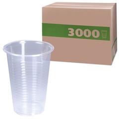 Одноразовые стаканы 200 мл, КОМПЛЕКТ 3000 шт. (30 упаковок по 100 шт.), прозрачные, ПП, холодное/горячее