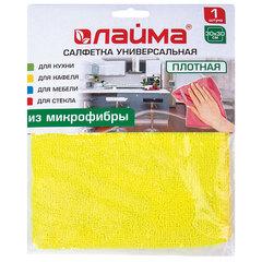 Салфетка универсальная, плотная микрофибра, 30х30 см, ассорти (желтая, зеленая, розовая), LAIMA, 601244