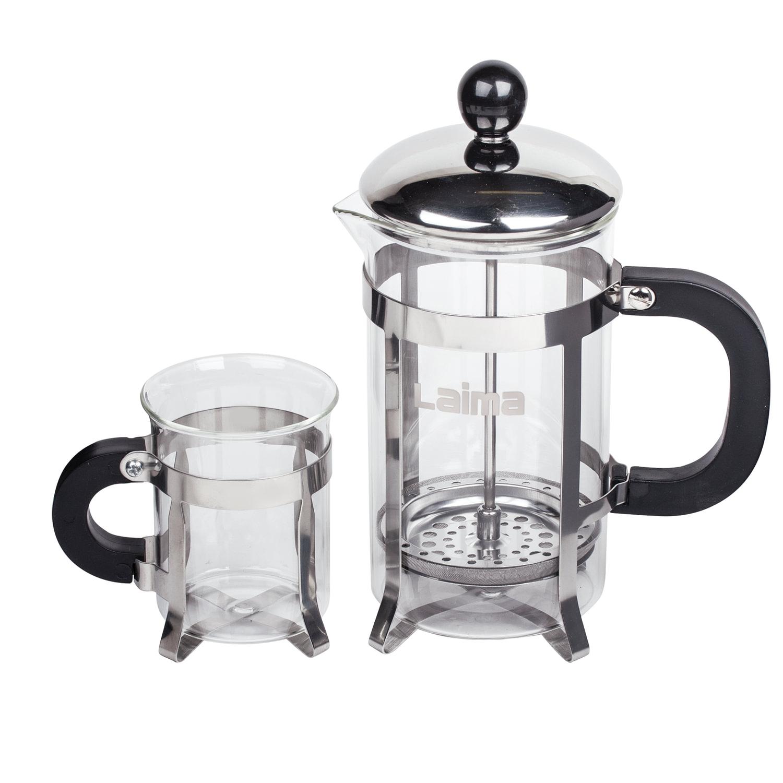 """Набор ЛАЙМА """"Классик"""", френч-пресс 600 мл + 2 стакана 200 мл + ложка, жаропрочное стекло/пластик/нержавеющая сталь, 601372"""