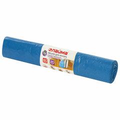 Мешки для мусора 60 л синие в рулоне 20 шт. особо прочные, ПВД 30 мкм, 60х70 см, LAIMA, 601382