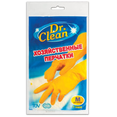 Перчатки хозяйственные латексные DR.CLEAN (Доктор Клин), без х/б напыления, размер М (средний)