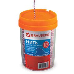 Нить хлопчатобумажная для прошивки документов, ТРИКОЛОР, диаметр 1,6 мм, длина 120 м, в диспенсере, BRAUBERG, 601813