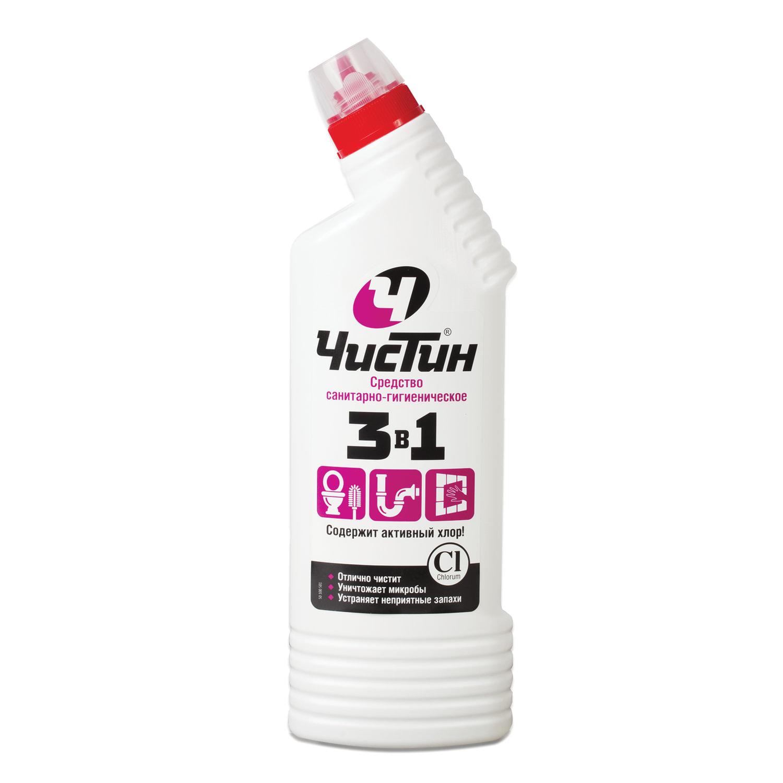 """Средство для уборки туалета 750 г, ЧИСТИН """"3 в 1"""", содержит активный хлор"""