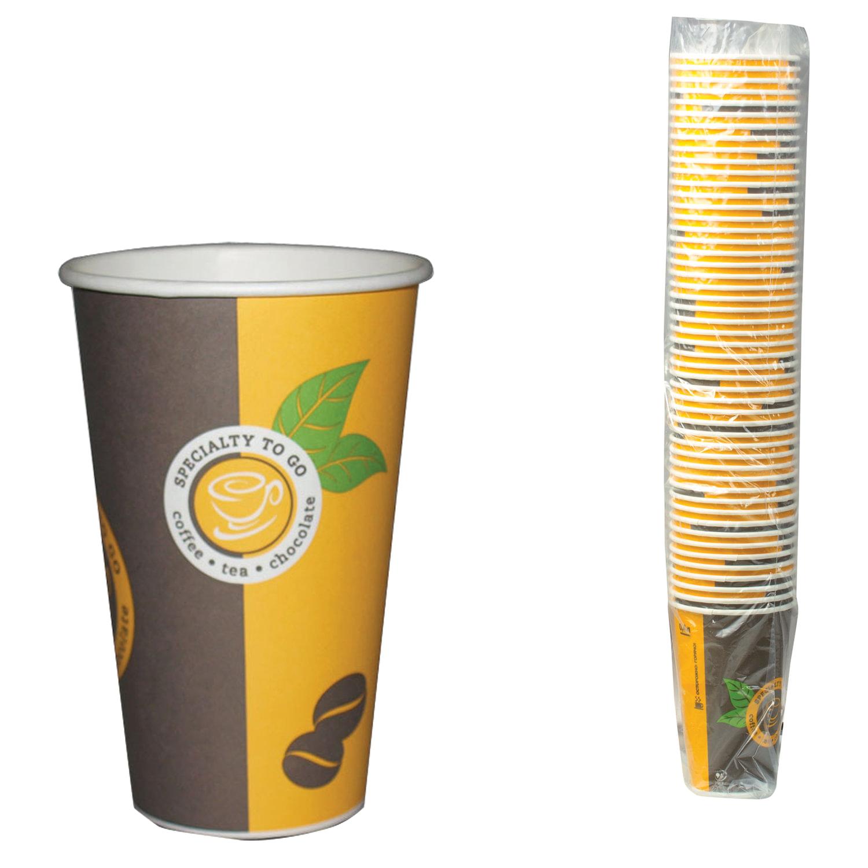 Одноразовые стаканы 400 мл, КОМПЛЕКТ 50 шт., бумажные однослойные, цветная печать, холодное/горячее, ХУХТАМАКИ, Sp16S