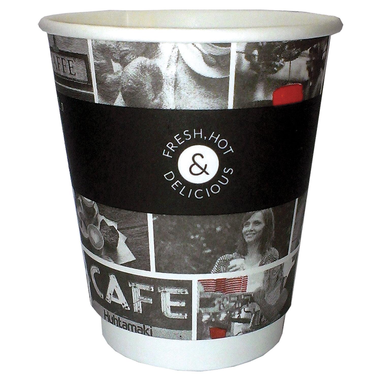 """Одноразовые стаканы 200 мл, КОМПЛЕКТ 26 шт., бумажные двухслойные, """"Cafe Noir"""" (мелованные), холодное/горячее, HUHTAMAKI, -3068"""