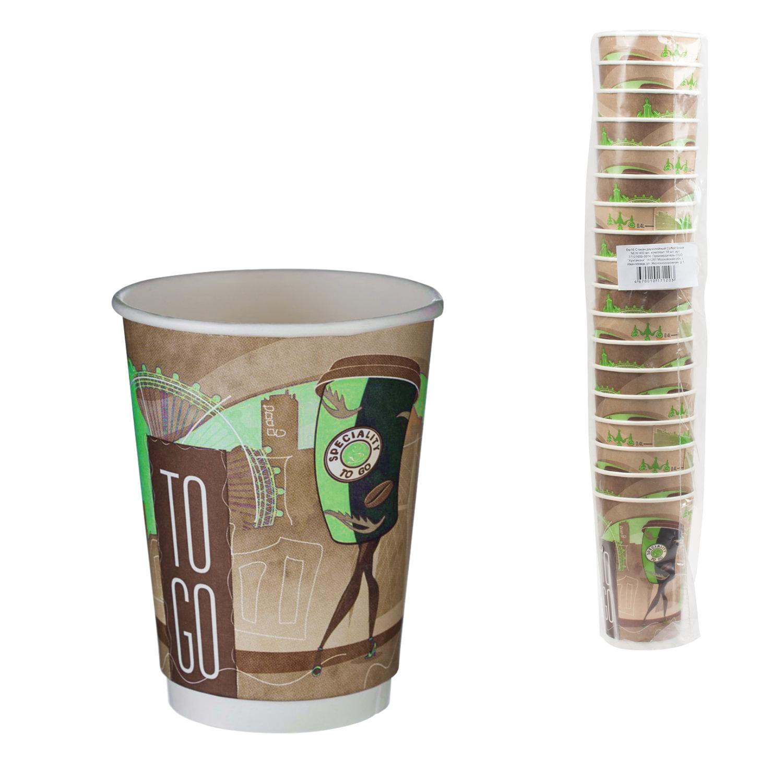 Одноразовые стаканы 400 мл, КОМПЛЕКТ 18 шт., бумажные двухслойные, цветная печать, холодное/горячее, ХУХТАМАКИ, DW16