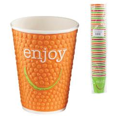 """Одноразовые стаканы 300 мл, КОМПЛЕКТ 40 шт., бумажные двухслойные, """"Impresso Enjoy"""", холодное/горячее, HUHTAMAKI, -0951"""