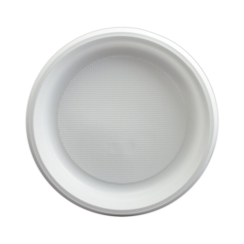 """Одноразовые тарелки, КОМПЛЕКТ 1600 шт. (16 упаковок по 100 штук), пластиковые, d=205 мм, """"ЭКОНОМ"""", белые, ПС, холодное/горячее"""