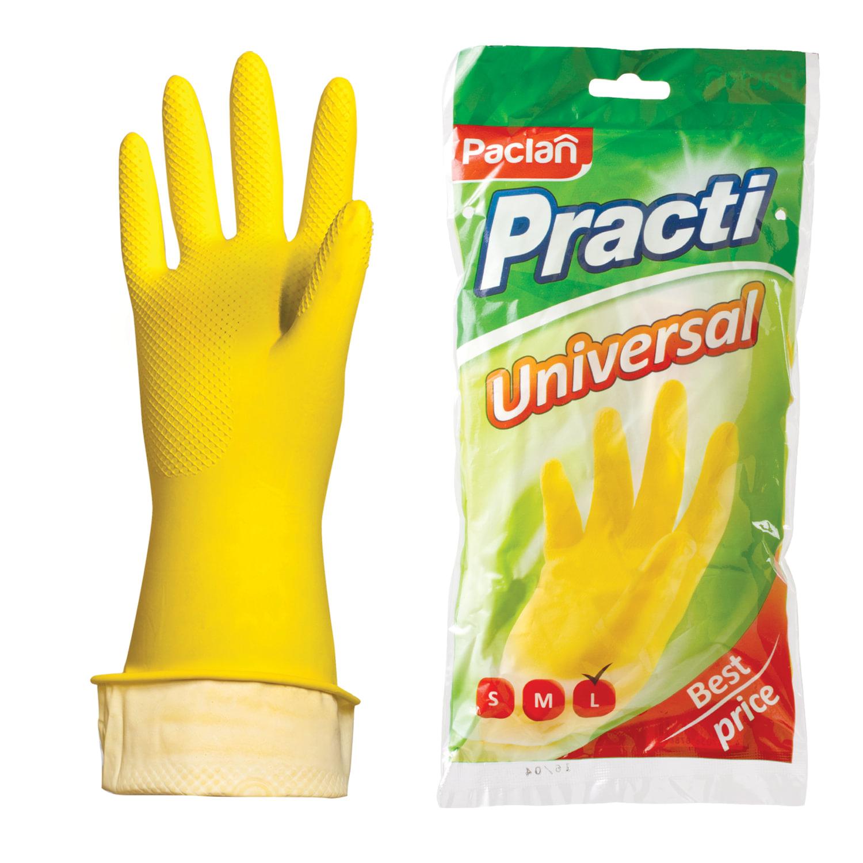 """Перчатки хозяйственные латексные, х/б напыление, размер L (большой), желтые, PACLAN """"Practi Universal"""""""