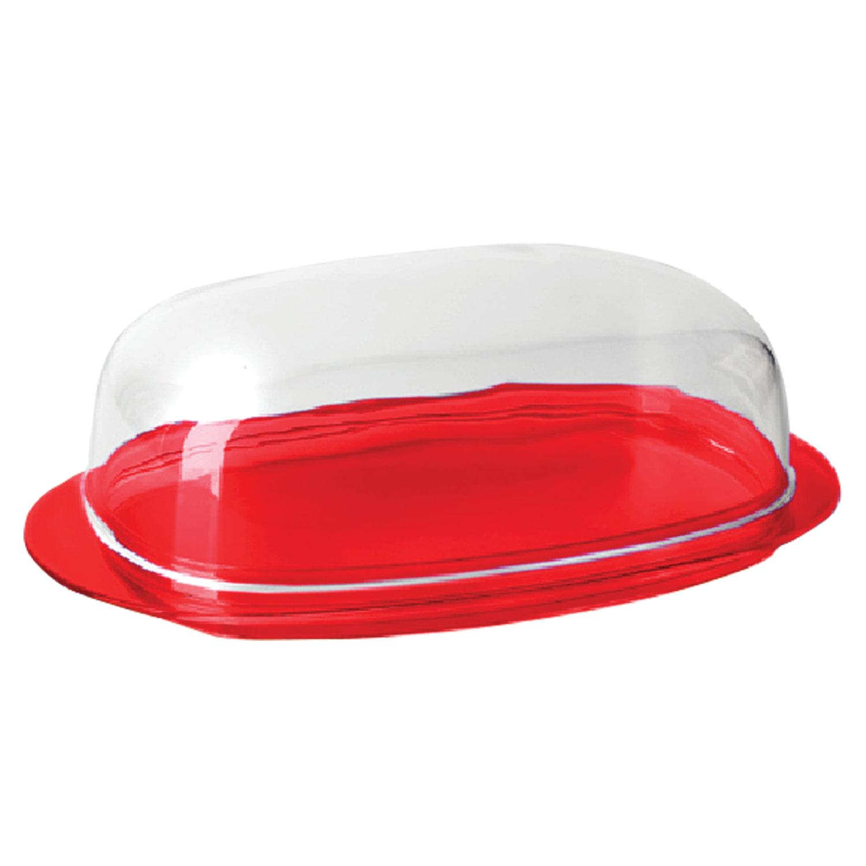 """Масленка с крышкой, для масла/сыра, """"Кристал"""", 6х10,6х19 см, красная/прозрачная, IDEA"""