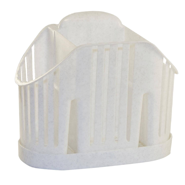 Сушилка для столовых приборов, 3 секции, вертикальная, 19х11х16 см, цвет мраморный/белый, IDEA