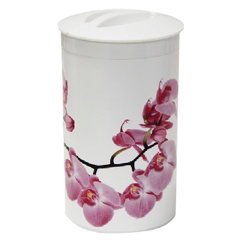 """Контейнер 1 л, с крышкой, колба, для сыпучих продуктов, """"Орхидея"""", высота 18 см, диаметр 10 см, белый, IDEA"""