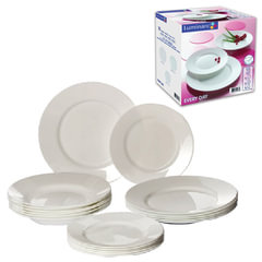 Набор посуды столовый, 18 предметов, белое стекло, Everyday, LUMINARC